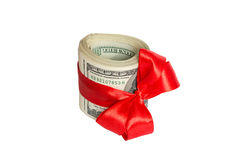 Dollar with red bow Isolated on white background Royalty Free Stock Photography
