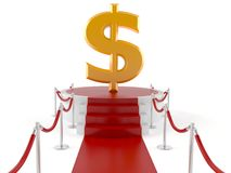 Dollar on red carpet. Isolated on white background Royalty Free Stock Photo