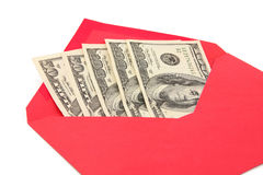 Dollar and red envelope Stock Photos