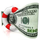 Dollar rescue concept. Isolated on white background. 3D render Royalty Free Stock Photography