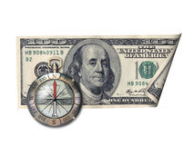 Dollar - this is the right direction. U.S. dollar and the compass shows the correct direction of your business royalty free stock photography