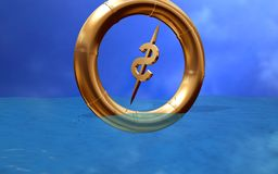 Dollar in the ring sinking in Royalty Free Stock Photos