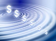 Dollar ripple. Background about dollar symbol on water ripple stock illustration