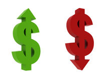 Dollar rise, Dollar fall. 3d render of dollar position Royalty Free Stock Photography