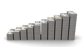 Dollar rising stairs. 3d illustration of dollar stacks rising stairs over white background Royalty Free Stock Photography