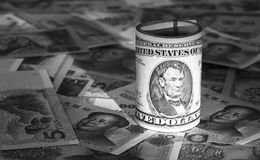 Dollar and RMB. Bills of USD and RMB Royalty Free Stock Photography