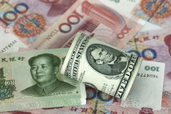Dollar and RMB Royalty Free Stock Photos
