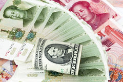 Dollar and RMB Royalty Free Stock Photography