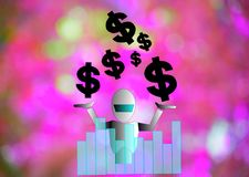 Dollar and robot  on wood board background.using wallpaper or for education, business photo.Take note of the p Stock Photo