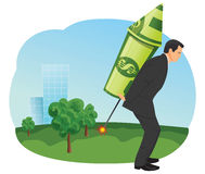 Dollar rocket. Businessman is starting to fly with a dollar rocket Stock Photos