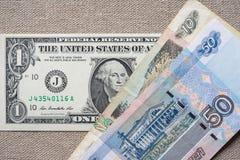 Dollar-roebel wisselkoers stock afbeeldingen
