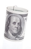 Dollar Roll. Twisted a hundred dollar bill (front view stock image