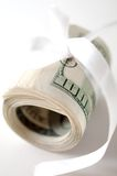 Dollar roll tightened with ribbon Royalty Free Stock Photos