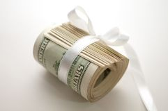 Dollar roll tightened with ribbon Stock Photo