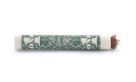 Dollar roll tobacco joint isolated Royalty Free Stock Photo