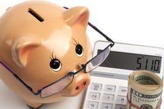 Dollar Rollen-auf Taschenrechner Lizenzfreie Stockfotos