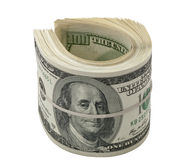 Dollar Rollen- getrennt auf Weiß Stockbilder