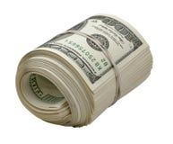 Dollar Rollen- getrennt auf Weiß Stockfotos