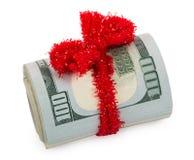 Dollar Rollen- oben gebunden mit rotem Band Lizenzfreie Stockfotos