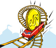 Dollar on rollercoaster ride Stock Photo