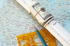 Dollar rollte in einer Zeichnung Lizenzfreie Stockbilder