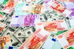 Dollar, rubel och euro Royaltyfri Bild