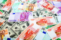 Dollar, Rubel und Euro Lizenzfreies Stockbild