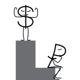 Dollar and ruble. Characters. Proud dollar standing on high step and sad ruble sitting in low step. Profit and loss diagrams. Concept of difference in exchange vector illustration