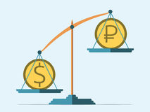 Dollar and ruble. Coins on scales. Rouble in decline. Flat style. Exchange rate concept. EPS 8 vector illustration, no transparency royalty free illustration