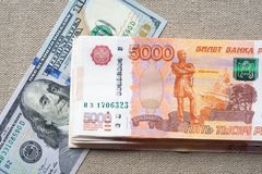 Dollar-ruble exchange rate. stock images