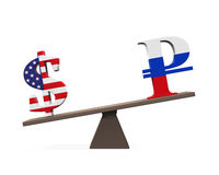 Dollar and Ruble on Seesaw Royalty Free Stock Photo