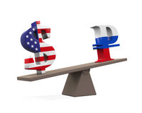 Dollar and Ruble on Seesaw Stock Photo