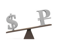 Dollar and Ruble on Seesaw Royalty Free Stock Images