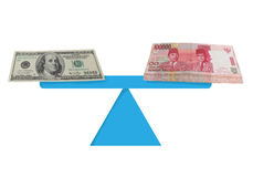 Dollar and Rupiah Money Exchange. Currency value concept image of Dollar and Rupiah money exchange Royalty Free Stock Photo