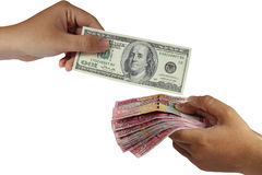 Dollar and Rupiah Money Exchange Stock Image