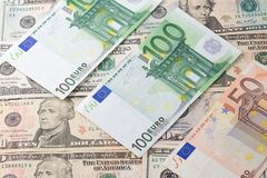 Dollar's and euro's background Stock Image