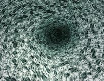 Dollar's flow in black hole Stock Image