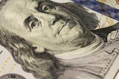 Dollar's Franklin portrait. Close up macro royalty free stock photos