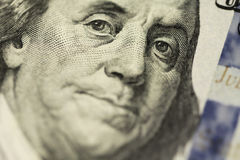 Dollar's Franklin portrait. Close up macro stock photography