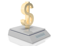 Dollar's weigh. Golden dollar symbol measured its weigh on digital scale royalty free illustration