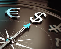 Dollar Safe Haven Currency - Investment Concept. Compass with needle pointing dollar symbol with blur effect. Illustration of US safe heaven currency and Stock Photography