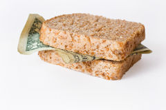 Dollar sandwich Royalty Free Stock Images