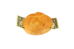 A Dollar Sandwich. Sandwich with One Dollar salad -isolated on white Stock Photo