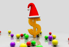 Dollar and santa cap Royalty Free Stock Photos