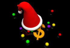 Dollar and santa cap Stock Photography