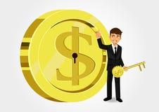 Dollar-Schlüssel, der Einsparungen und Finanzierung zeigt Lizenzfreies Stockfoto