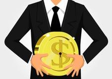 Dollar-Schlüssel, der Einsparungen und Finanzierung zeigt Lizenzfreie Stockfotografie