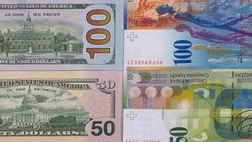 100 dollar 50 schweizisk franc pengarbakgrund Fotografering för Bildbyråer