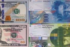 100 dollar 50 schweizisk franc pengarbakgrund Arkivbild