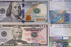 100 dollar 50 schweizisk franc pengarbakgrund Royaltyfri Bild